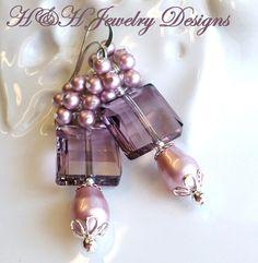 Swarovski Crystal Cluster Earrings, Swarovski Pearl Earrings, Pink Swarovski Pearl and Crystal Earrings, Pink Crystal Earrings by hhjewelrydesigns on Etsy