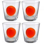 Ces verres design donneront une touche d'originalité à votre vaisselle habituelle.Vendus par 4 ces verres transparents sont agrémentés d'une tache ronde de couleur orange ce qui apportera de la couleur à votre table.Hauteur : 10cm Diamètre : 9.5cm Poids : 1kg- Couleurs : transparent et orange.- Lot de 4 verres.