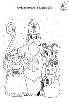 Mikuláš, čert, anděl Christmas Colors, Winter Christmas, Christmas Time, Christmas Cards, Coloring Books, Coloring Pages, Window Mural, Angel And Devil, Winter Project