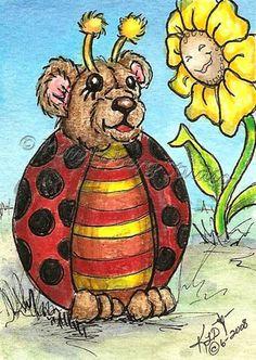 Lady Bug Teddy Bear ACEO EBSQ Kim Loberg Mini Art Fantasy Insect sun Flower sfa #IllustrationArt