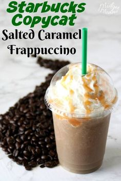 This Salted Caramel Frappuccino Starbucks Drink Copycat is amazing, it took a bit for me to get the recipe just right but it is perfect! I know you are going to love this Salted Caramel Frappuccino Starbucks Caramel Frappuccino, Vanilla Frappuccino, Oreo Starbucks, Vegan Starbucks, Starbucks Coffee, Keto Coffee Recipe, Coffee Drink Recipes, Coffee Drinks, Low Carb Starbucks Drinks