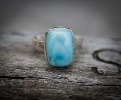 Larimar Ring. Sterling Silver and Larimar ring by NaturalRockShop, $109.00