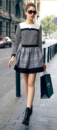 Color Block - Houndstooth Dress.   dresslily.com