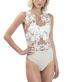 Look what I found on #zulily! White Floral Lace & Mesh Bodysuit by CQbyCQ #zulilyfinds