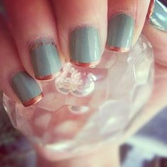 Seafoam sage green and micro copper tips. love the dot accent on the ring finger