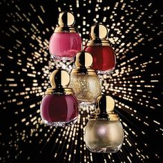 Dior Christmas 2015 - State of Gold. Four new limited edition shades of Diorific Vernis: gold-grey, pretty pink, fiery red and intense plum. #itDior