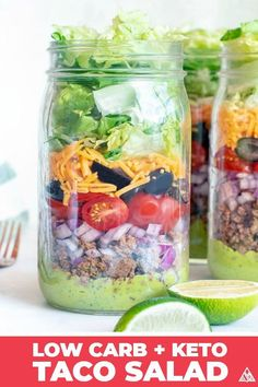 Meal Prep Keto Taco Salad This keto taco salad is a recipe even veggie-haters can't resist — moist and zesty beef, sprinkled with low carb toppings and covered in a delicious avocado dressing. Low Carb Taco Seasoning, Low Carb Taco Salad, Taco Salad Recipes, Low Carb Tacos, Low Carb Lunch, Healthy Recipes, Lunch Recipes, Keto Recipes, Juicer Recipes