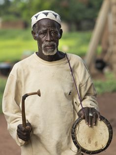West African drum player
