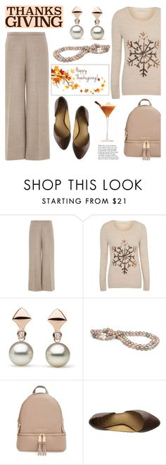 """Home for Thanksgiving"" by pearlparadise ❤ liked on Polyvore featuring Carolina Herrera, George, MICHAEL Michael Kors, Jack Rogers, Anja, contestentry, thanksgiving, pearljewelry and pearlparadise"