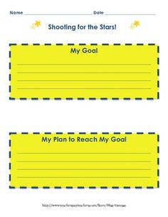 Shoot For the Stars Goal Packet - Perfect for Beginning of Middle School Counseling, School Counselor, Classroom Activities, Classroom Organization, School Fun, School Ideas, Goal Setting Sheet, Student Self Assessment, Daily List