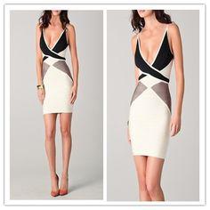 Sexy Deep V Colorblocked Bandage Dress, $139