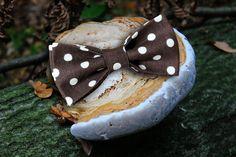 Галстук бабочка однокрылая коричневый горох