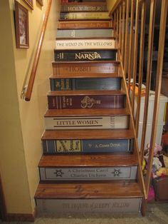 Bookcase Stairs Fresh Musing From An Imperfect Mom Of 12 Bookshelf Stairs Book Staircase, Staircase Design, Stair Art, Stair Decor, Painted Staircases, Painted Stairs, Bedroom Designs For Couples, Bedroom Ideas, Small Bedroom Organization