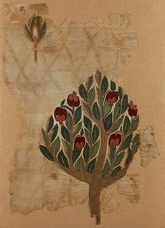 Textile Fragment with Tree | Tapestry weave in polychrome wool and undyed linen on plain-weave ground of undyed linen