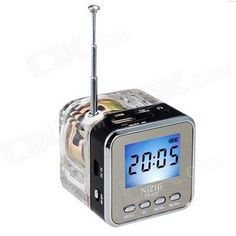 2.0 inch screen; Excellent SRS stereo surround-sound; Gives out a colorful lights when it starts; Compact size for ease of carrying; Enters music mode when connected to a TF card or USB flash drive; Supports FM radio and comes with an antenna; Optional track and volume adjustment; Features a clock function; http://j.mp/1v37eo4