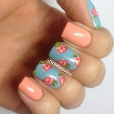 Mix and match peach and Vintage Roses with @Scratch nail wraps. Added some CG Fairy Dust to make the roses sparkle. #nailsbynailstories - @Vanessa