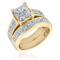Reeds White Gold And Yellow Gold Diamond Bridal Set 3ctw - R... - Polyvore