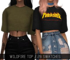 Wildfire Top by Simpliciaty for The Sims 4 Sims 4 Mods, Sims 4 Game Mods, Sims 4 Teen, Sims 4 Toddler, Sims 1, Toddler Toys, Thrasher, Tee Shirt Trasher, Cc Top