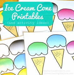Free Ice Cream Cone Printables (and activity ideas--like chore charts, rewards and incentives, and busy bags)