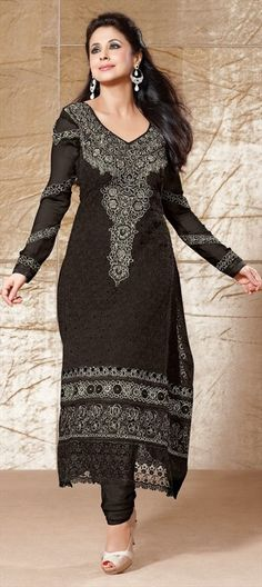 e041b27795700e 401869 Black and Grey color family Bollywood Salwar Kameez in Crepe