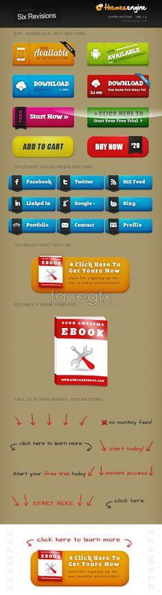 Web button design PSD