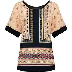 Now 47% off, $16 - Shop this and similar blouses - A dressy casual tee of epic folk styling print with color block. The lightweight fabric offers touchable comf...