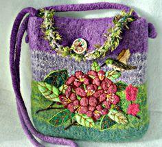 Felted Purse, Felted Handbag, Rododendren Flower, Flower art, Needle felt Flower,Hummingbird