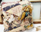 Pillow // Bohemian Bear Design // Vintage Hand Embroidered Quilt // Gift under 80