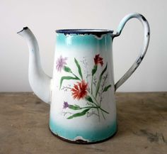 French vintage pitcher French enamelware by FarawayPlacesVintage
