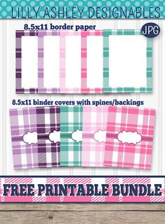 Free PLAID printable bundle of binder covers (with spines/backings!) and border papers! Printable Planner, Free Printables, Printable Calendars, Binder Organization, College Organization, Organizing Life, Binder Covers Free, Paint Program, Household Notebook