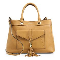 Astor leather tote by Milly. Slouchy pebbled leather tote with front tassel detail. Double top handles. Removable, adjustable crossbody strap. Top...