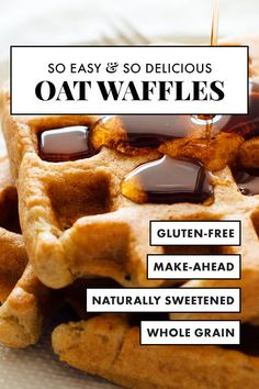 Easy Gluten Free Oat Waffles Meet my FAVORITE waffles! These easy gluten-free waffles are made with just one flour—oat flour! Oat flour is incredibly easy to make at home with oats, too. You need to make this whole grain recipe! Oat Flour Recipes, Waffle Recipes, Cookie Recipes, Oat Flour Waffles Recipe, Almond Flour Waffles, Gluten Free Oats, Gluten Free Baking, Gluten Free Recipes, Gf Recipes