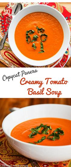 Copycat Panera Bread Creamy Tomato Basil Soup - so creamy and delicious, just like Panera's ~ http://jeanetteshealthyliving.com