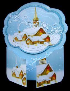 Blue Christmas Village Gate Fold Card