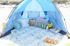 Transform an ordinary day at the beach to an island getaway feel with a tent for you and your friends! // This is perfect for a fun beach day with the girls! Beach Picnic, Beach Camping, Beach Pool, Beach Trip, Baby Beach, Beach Party, Hawaii Beach, Oahu Hawaii, Beach Travel