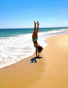 Handstand on the beach.