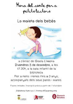 Divendres 5 de desembre hora del conte dels petits lectors (per a nens i nenes de 0 a 3 anys), acompanyats dels seus pares. Inscripció prèvia a la biblioteca d'#Esparreguera, o pel facebook, o via correu electrònic b.esparreguera@diba.cat