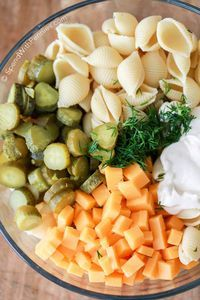 Dill Pickle Pasta Salad (use #lowcarb mayo, try subbing sour cream with Greek yogurt)