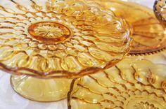 vintage dish rental - vintage dish blog - amber glass cakeplates