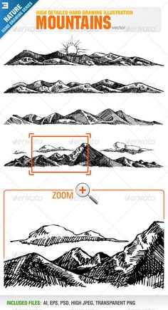 4 Hand Drawing Mountains   #GraphicRiver         Vector set of 4 different hand drawing mountains. Each mountain included in different layer for ai, eps and psd documents. You can see other hand drawing illustrations from my portfolio..  	 Please, dont forget to rate my vectors! Thank you    NATURE                                  Created: 13July12 GraphicsFilesIncluded: PhotoshopPSD #TransparentPNG #JPGImage #VectorEPS #AIIllustrator Layered: Yes MinimumAdobeCSVersion: CS