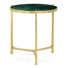 Gold and green fuse together beautifully to create this stunning side table from Jonathan Charles. The delicate, polished brass frame stands on 3 thin legs which extend up and support the round, green marble top. The grain of the marble gives this piece a depth and naturality which makes it truly something special.