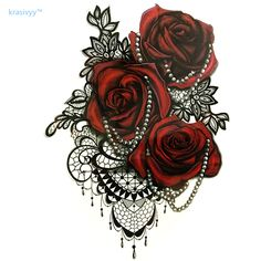 2017 new arrivesTattoo Cool Beauty Sexy Tattoo lace rose flower Waterproof Temporary Tattoo Stickers art body makeup leg arm732 #Affiliate
