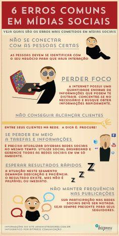 #Infografico: 6 erros comuns em Mídias Sociais #socialmedia #mkt #business