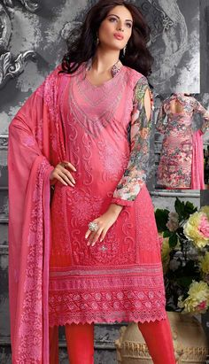 Beautiful Latest Pink Georgette Churidar Kameez PartyWearDresses,