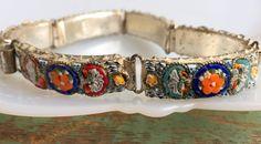 Antique Italy Signed Micro Mosaic Bracelet Glass Flower Silvertone 6 panel by Holliezhobbiez on Etsy