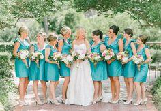 LOVE these teal/turquoise bridesmaid dresses! | Pasha Belman