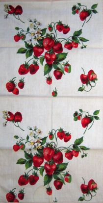 strawberry kitchen towel, vintage