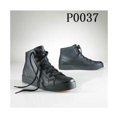 Polo Ralph Lauren Mens CalfskLeather Shoes Black via Polyvore