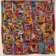 No. 4, Boneyard Creek Batik Log Cabin Quilt      studiojujuquilts      Studio Juju Textile Art