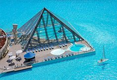 Indoor Glass pyramid Pool built on the largest pool on the planet at The San Alfonso Del Mar Resort in Algarrobo, Chile.